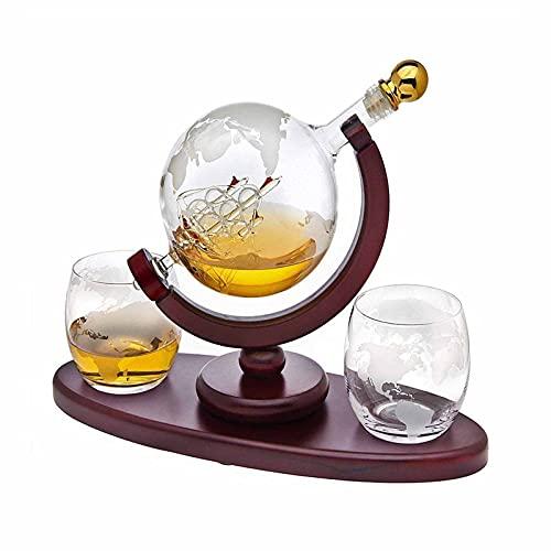 JANGOU Globe Decantador con barco, juego de decantador de whisky, dispensador de barco antiguo, juego de globo con 2 copas de whisky grabadas, taza de decantador de globo para licor, bourbon vodka
