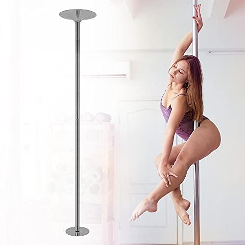 ML-Design Profi Pole Dance Tanzstange 45mm, Silber, von 2,35 bis 2,74 m höhenverstellbar, Silber, aus Stahl, bis 150 kg belastbar, tragbar, GoGo Tabledance Strip Stange mit Static & Spinning Funktion