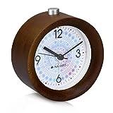 Navaris Despertador analógico - Reloj Redondo de Madera Natural con luz - Despertador Circular silencioso con Alarma - En marrón Oscuro con diseño Copo de Nieve