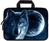 iColor 11.6 12 12.1 12.2 Inch Laptop Carrying Case - Protective Notebook/Netbook Sleeve Bag Pouch - Travel Briefcase with Handle (Moon and Wolf)