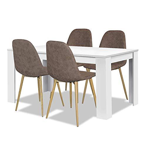 agionda® Esstisch Stuhlset : 1 x Esstisch Toledo Weiss 120 x 80 4 Polsterstühle braun Pascal mit hochwertigem PU Kunstleder Jeder Stuhl ist 120 kg belastbar Retro Design