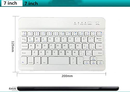 Draadloos Bluetooth-toetsenbord voor iOS (Apple IPad Mini 4, IPad Mini 1/2/3) Functietoetsen voor iOS, 7 Inch Zwart Ultrathin Draadloos Bluetooth-toetsenbord White Color