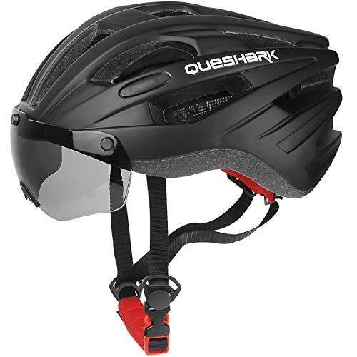Queshark Casco da Ciclismo per Uomo Donna Casco da Bicicletta per Adulti con 2 Occhiali a Magneti (Nero Opaco)