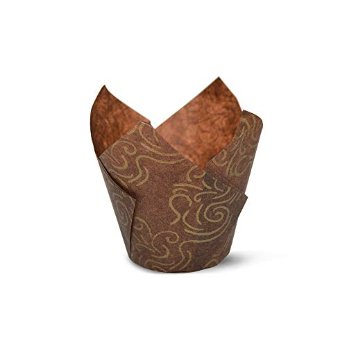 Brown Gold Swirl Tulip Baking Cups Cupcake Liners Muffin Liners Greaseproof Paper 100