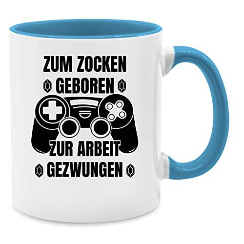 Deko Tasse Hobby Geschenk - Zum Zocken geboren zur Arbeit gezwungen - Unisize - Hellblau - Tasse - Q9061 - Kaffeetasse und Teetasse