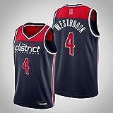 LYY Jerseys De Baloncesto para Hombres, NBA Washington Wizards # 4 Russell Westbrook - Clásico Transpirable Secado Rápido Vestidos Sin Mangas Tops Camiseta Uniformes,Azul,XXL(185~195CM)