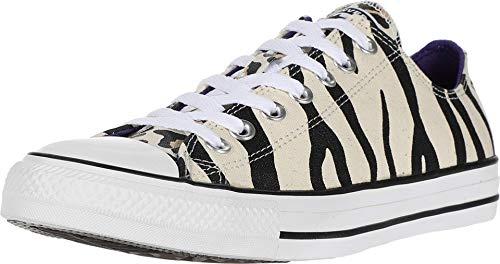 Converse Chuck Taylor All Star Low Top Zebra Animal Print Sneaker, Driftwood/Black/Light Fawn, 7.5 Women/5.5 Men