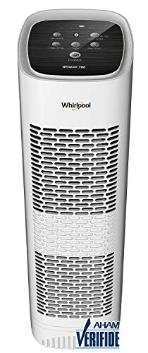 air purifier with new whispers Whirlpool Whispure WPT80P True HEPA Air Purifier, Activated Carbon Advanced Anti-Bacteria, Ideal for Allergies, Odors, Pet Dander, Mold, Smoke, Smokers, and Germs, Large, White