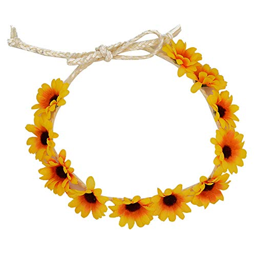 Angoter Blumen-Stirnband-Blumen Fall Sonnenblume-Kronen-Haar-Kranz-Festival-Haar-Band-Brautoberteils Für Frauen