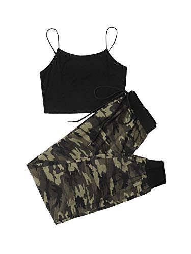 SOLY HUX Pantalones de camuflaje para mujer, 2 piezas, camiseta y pantalones deportivos Color negro S