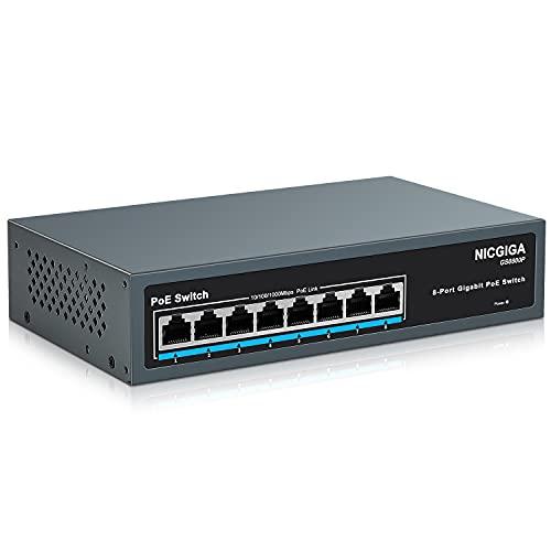 NICGIGA 8 Port Gigabit PoE Switch @120W, Robustes lüfterloses Metallgehäuse für Desktop/Wand/Rack-Montage, Plug and Play, Unmanaged Power Over Ethernet Switch(GS0800P)