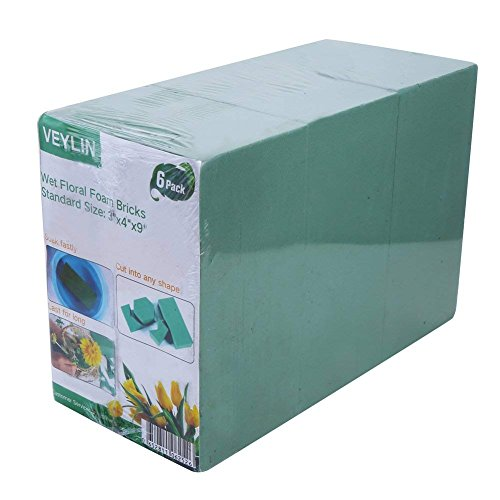 Pack of 6 Wet Floral Foam Bricks Green Styrofoam Blocks for Floral Arrangement by VEYLIN