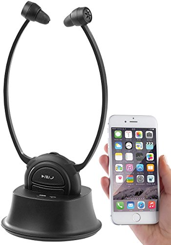 Newgen Medicals Kinnkopfhörer: TV-Kinnbügel-Kopfhörer & Hörverstärker mit Bluetooth, bis 110 dB (Kopfhörer Fernseher Senioren)