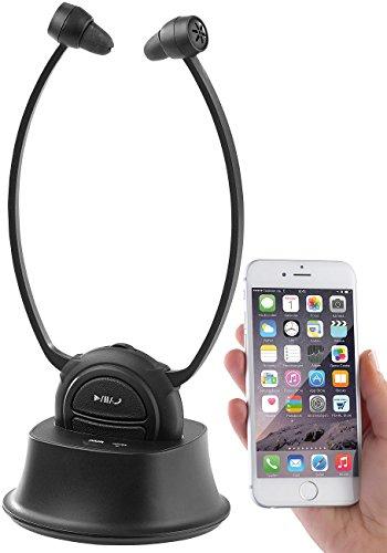newgen medicals Geräuschverstärker: TV-Kinnbügel-Kopfhörer & Hörverstärker mit Bluetooth, bis 110 dB (Funkkopfhöhrer)