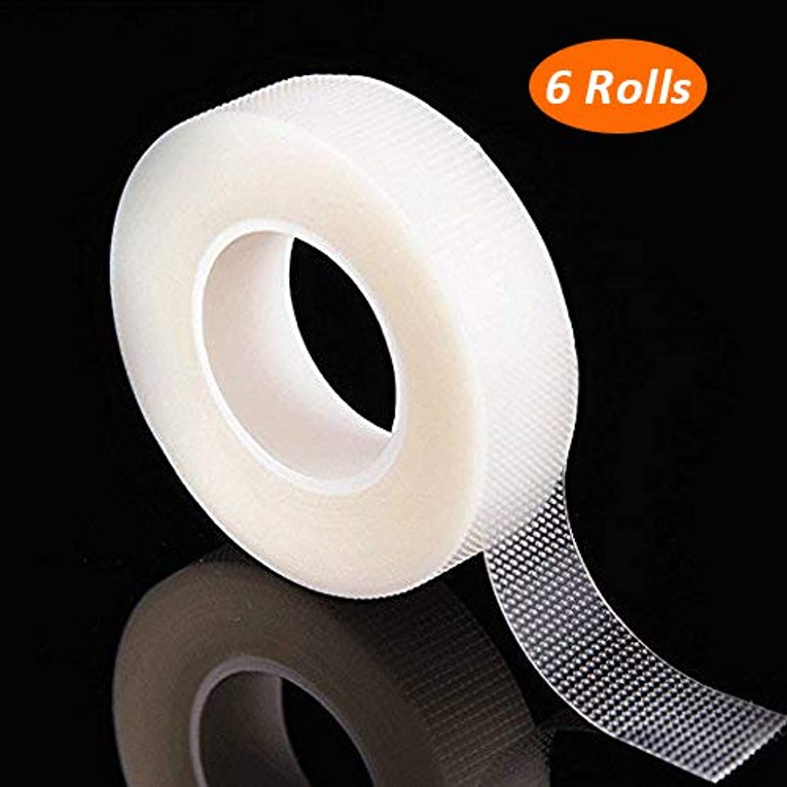 G2PLUS 6 Rolls PE Micropore Medical Tape Roll for Individual Eyelash Extensions,1/2'' x 10 Yards