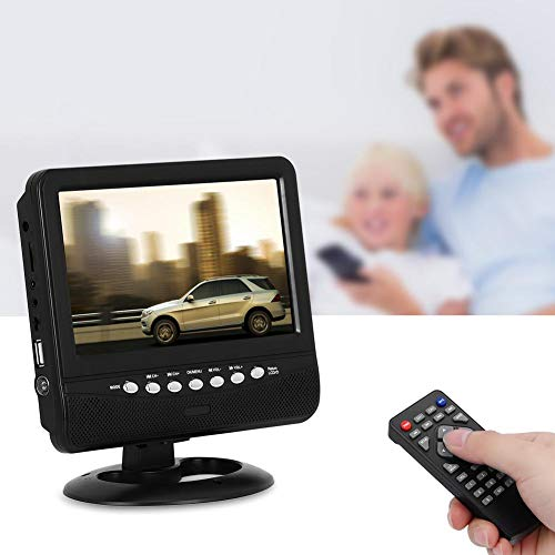 Focket TV Portátil para Automóvil, Mini Pantalla TFT LCD de Color Ultrafino de 7,5 Pulgadas HD TV Móvil Analógica Completa DVD Reproductor de Video Monitor, Sistema de TV PAL/NTSC/SECAM, Radio FM