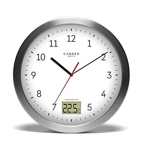 Cander Berlin MNU 4017 Weiße Badezimmeruhr aus Aluminium mit Vier Saugnäpfen zur Befestigung, Temperaturanzeige und lautlosem Uhrwerk - 17 cm (Ø) - kein nerviges Ticken