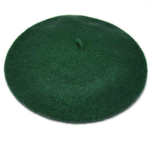 JOYHY Mujeres Color Solido frances Clasico Boinas Beanie Gorras Verde Negruzco