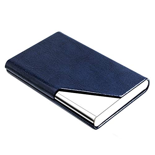 Business Name Card Holder Luxury Leather & Stainless Steel Multi Card Case,Business Name Card Holder Wallet Credit Card ID Case/Holder for Men & Women - Keep Your Business Cards Clean (Z-Navy Blue)