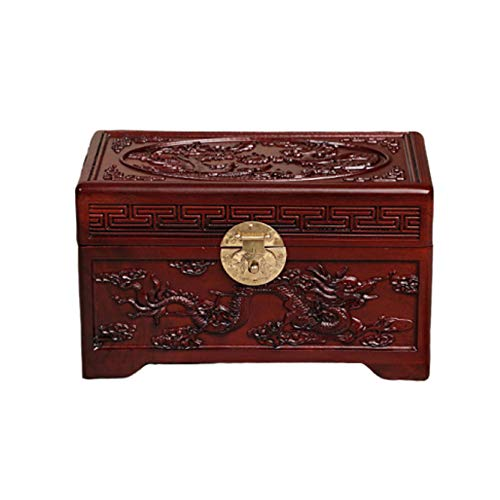 Large Wooden Cremation Urns for Human Ashes Adult,Memorial Funeral Urn Box, Five Surface Hand Engraved Dragon and Phoenix Pattern,Three Colors,A