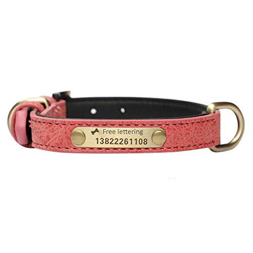 Collar halsband voor honden, medaille gegraveerd met naam en telefoonnummer, XL, Roze