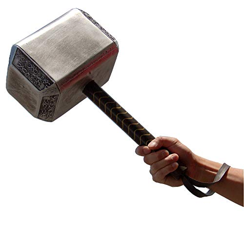 Avengers Endgame 17 Inch Large Adult Size Thor's Hammer PU Foam Thunder Hammer Toy Collectors Cosplay Prop Fancy Replica Weapon Silver Grey