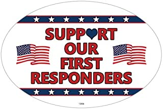 SJT ENTERPRISES, INC. Support Our First Responders - Patriotic Support Oval Car Magnets (SJT12699)
