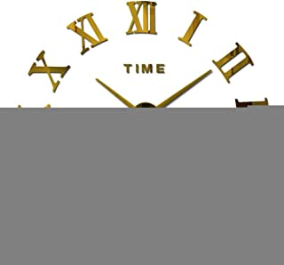 ZKS-KS Wall Clock with 3D Acrylic Mirror Wall Clock with DIY Quartz Modern Clock for Home Wall Mirrors for Living Room-Gold