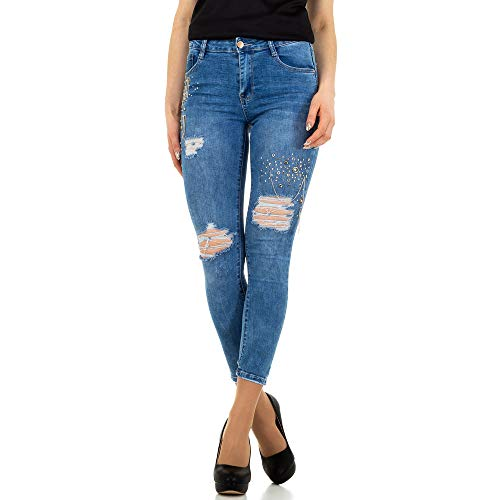 Preisvergleich Produktbild Ital-Design Destroyed HIGH Waist Skinny Jeans Laulia Gr. S / 36 Blau