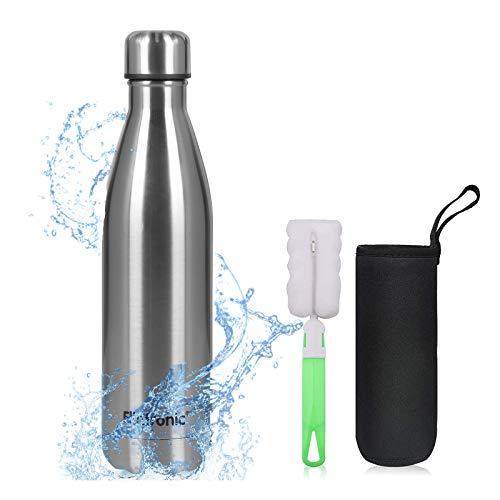 flintronic Botella de Agua Acero Inoxidable 750ml, Estanqueidad, Acero Inoxidable sin BPA...