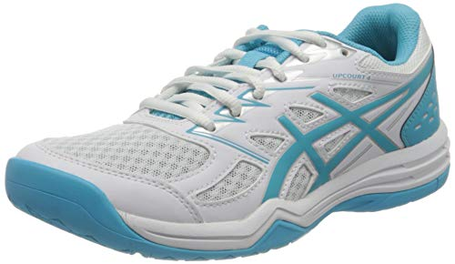 ASICS Damen Upcourt 4 Volleyball Shoe, White/Aquarium, 40.5 EU