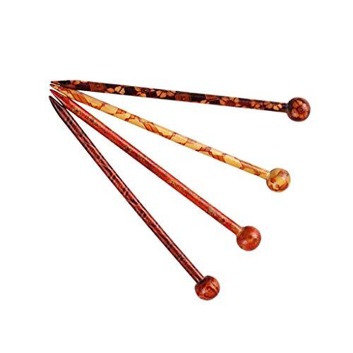 Sharplace 4pcs Pique à Cheveux Bâtonnets de Cheveux Naturel Santal Rouge à La Main Sculpté Pince à Cheveux Epingles à Cheveux