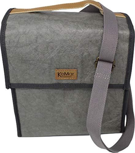 KeMar Kitchenware Lunchbox Tasche aus PE Papier | Kühltasche | Lunchtasche | Isoliertasche | Thermotasche | Bentobox Tasche | Hell Grau | Wasserabweisend | Vegan | Recycelt | Nachhaltig