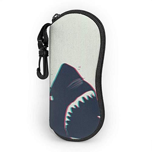 Sonnenbrille Brillenetui Teuflischer Hai Tasche Kratzfest staubsichere Brillenbox mit Gürtelclip für Schlüssel, Bleistifte, Karten