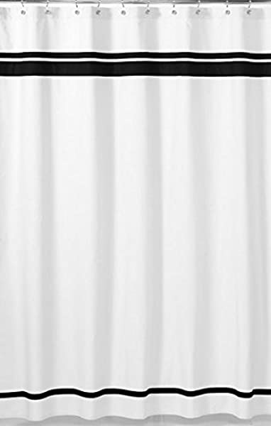 Sweet Jojo Designs White And Black Hotel Kids Bathroom Fabric Bath Shower Curtain
