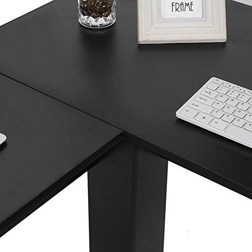 Escritorio en forma de L, fácil de instalar multifunción en forma de L para el hogar y la oficina (negro, negro)