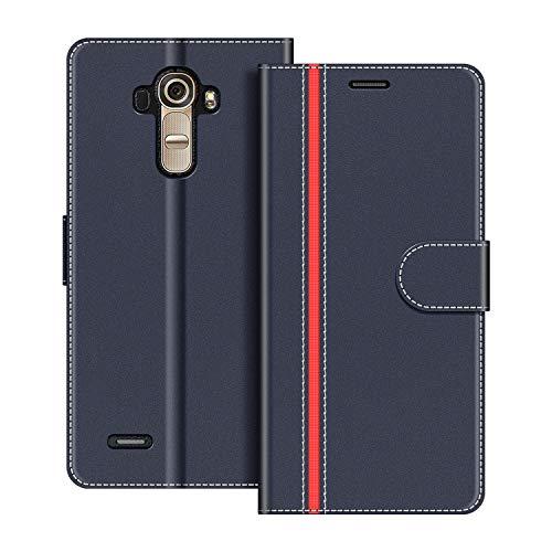 COODIO Custodia per LG G4, Custodia in Pelle LG G4, Cover a Libro LG G4 Magnetica Portafoglio per LG G4 Cover, Blu Scuro/Rosso