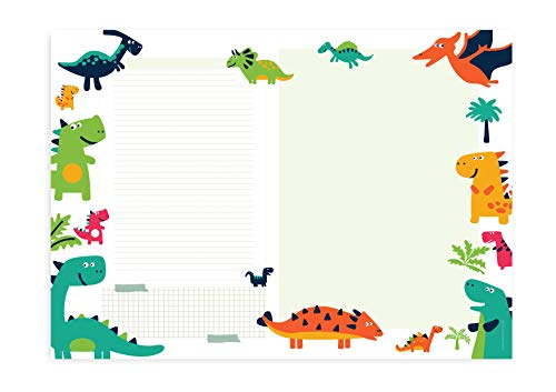 Friendly Fox Dino Schreibtischunterlage Papier - XXL Notizblock - A2 Block aus Papier zum Abreißen - Mal- und Schreibunterlage Dinosaurier Schreibtischunterlage Kinder