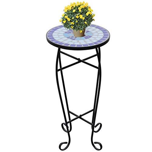 Cikonielf Mesa auxiliar de cerámica, mesa para plantas con diseño de mosaico, color azul y blanco, mesa para macetas, mesa auxiliar con patas curvas, 60 x 30 cm