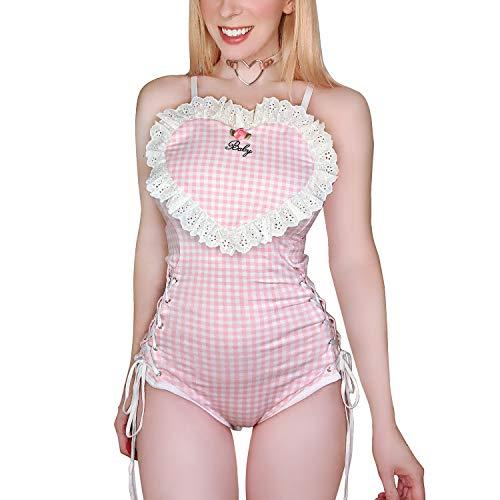 Littleforbig Cotton Sweetheart Romper Onesie Pajamas Bodysuit XL Pink