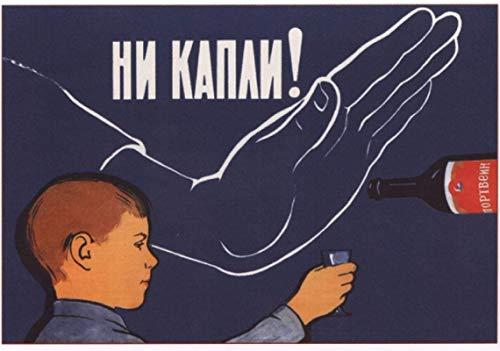 Cccp Soviética URSS Ruso ¡Ni una gota!Pinturas clásicas en lienzo Carteles de pared vintage Decoración del hogar -60x90cm Sin marco