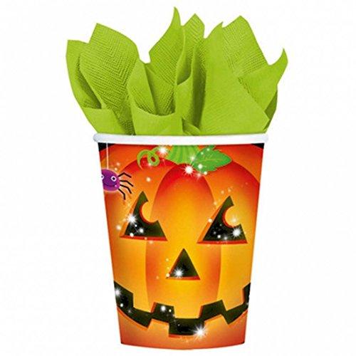Verres en carton d'Halloween enfants courge 8 gobelets Halloween motif citrouille 266 ml Gobelets de fête tasses jetables à thème citrouilles équipement soirée terrifiant enfant Vaisselle jetable