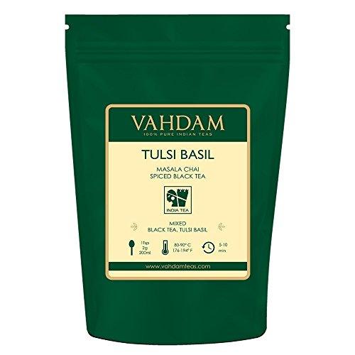 Tè in foglie biologico Tulsi Masala Chai, tè speziato con basilico sacro - Un tè ricco di antiossidanti dall'azione disintossicante - 100g