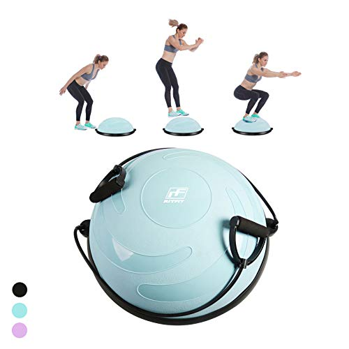 RitFit Balance Ball Trainer for Yoga,Fitness,Strength Exercise with Air Pump, Resistance Bands and Free Exercise Wall Chart (Geen Wave Pattern)