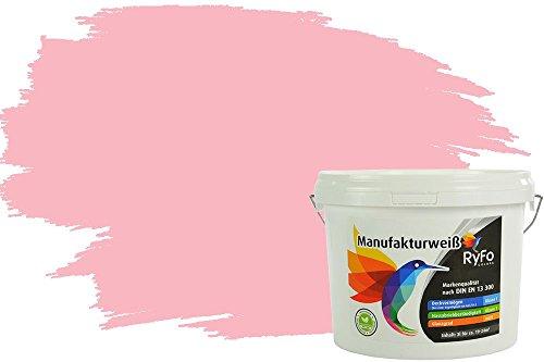 RyFo Colors Bunte Wandfarbe Manufakturweiß Rosa 3l - weitere Rot Farbtöne und Größen erhältlich, Deckkraft Klasse 1, Nassabrieb Klasse 1