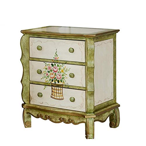 Shelves Flower Stand Nightstand Antique Distressed Painted Bedside Table Retro Hand-Painted Bedside Table Pastoral Three Drawer Locker Bedside Tables (Color : Green, Size : 63x40x71cm)
