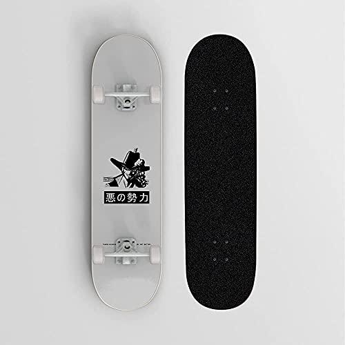 Nixi888 One Piece Dracule Mihawk En Fondo Gris Anime Skateboard, Mini Cruiser, Monopatín De Cubierta De Arce De 7 Capas, Rodamiento De Carga 100 Kg, Scooter De Calle De Caminos para Principiantes
