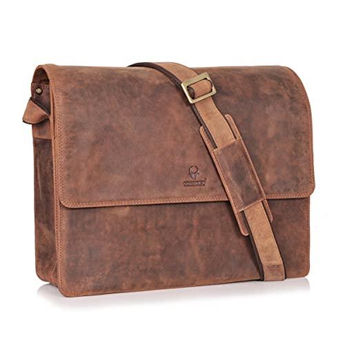 DONBOLSO® New York - Bolso bandolera de piel para portátil, para hombre y mujer, marrón Vintage, Medium