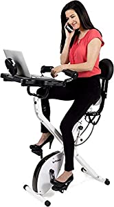 FitDesk Bike Desk 3.0 - Folding Stationary Exercise Bicycle Desk with Massage Bar and Exercise Bands - Upright Semi Recumbent Magnetic Cycle for Indoor Cycling - Height Adjustable with Built-in Tablet Holder For Home and Office Use