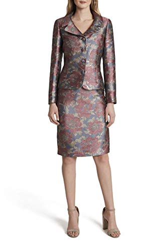 Tahari ASL Women's 4 Button Jacket and Skirt Set, Grey Pink Gold Floral, 16